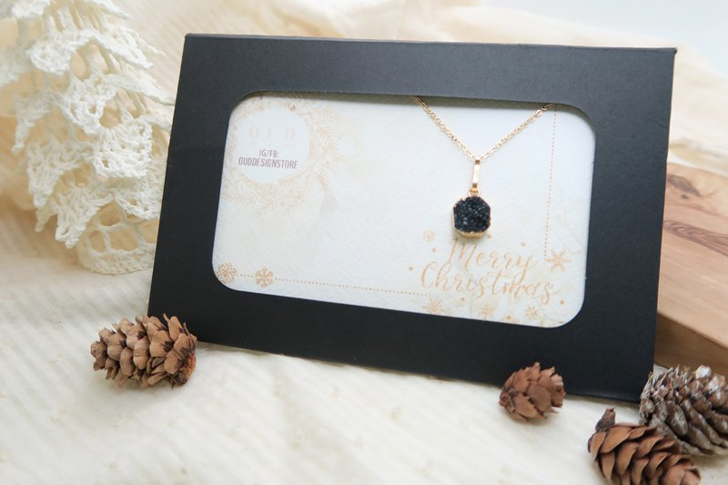 Christmas Gift/Natural Black Aura Druzy Quartz/Minimalist/14K GF Necklace