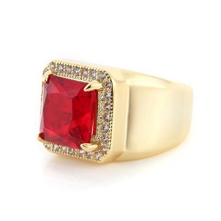 Ladder cut zircon ring
