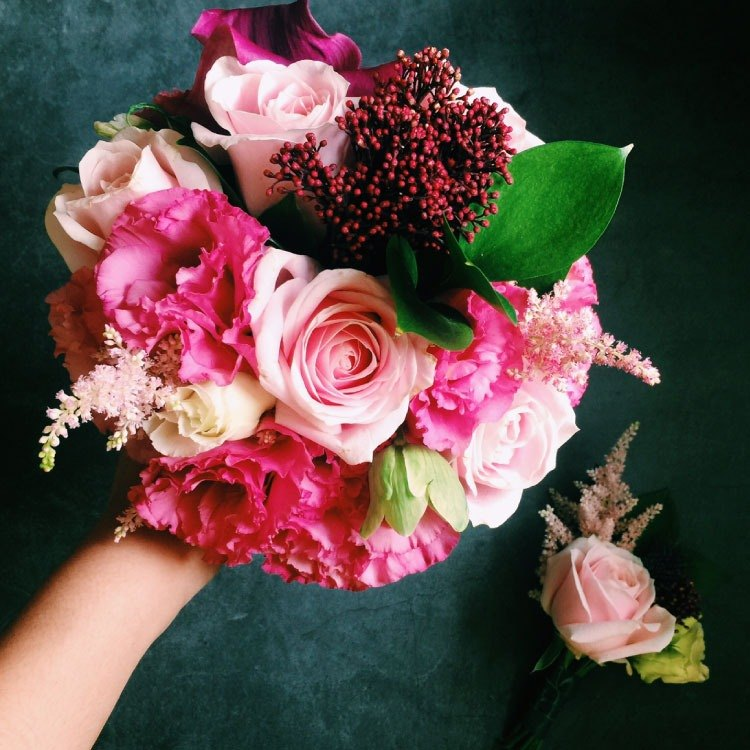 Romantic pink dreamy flowers bouquet corsage