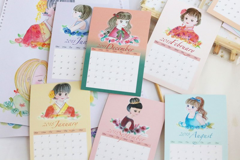 Wooden calendar 2018 calendar*watercolor rose girl*
