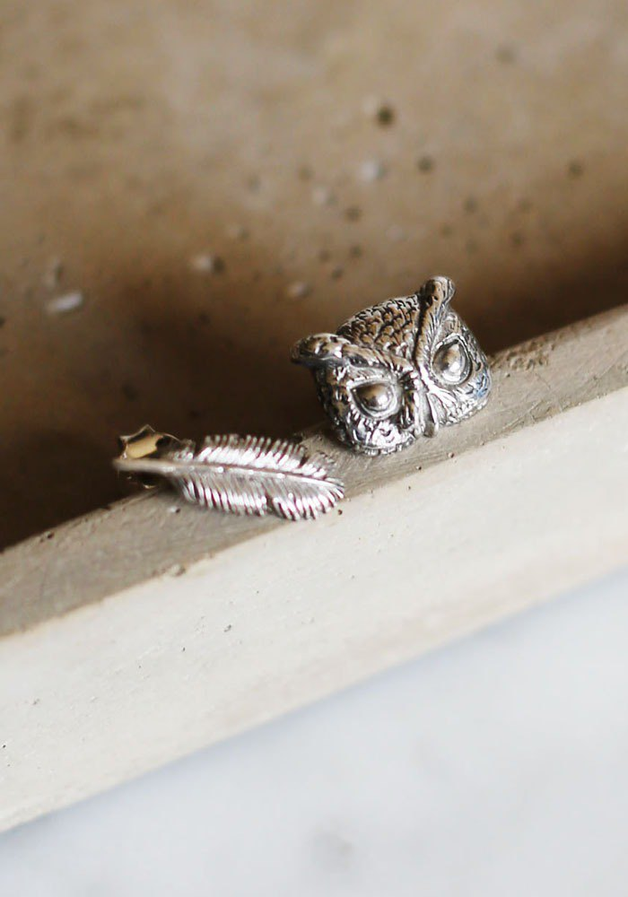 Petite Fille Female Unfinished Silver Handmade Little Owl Sterling Silver Earrings
