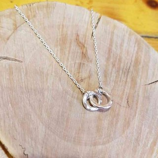 925 sterling silver necklace double ring phase ring short practice
