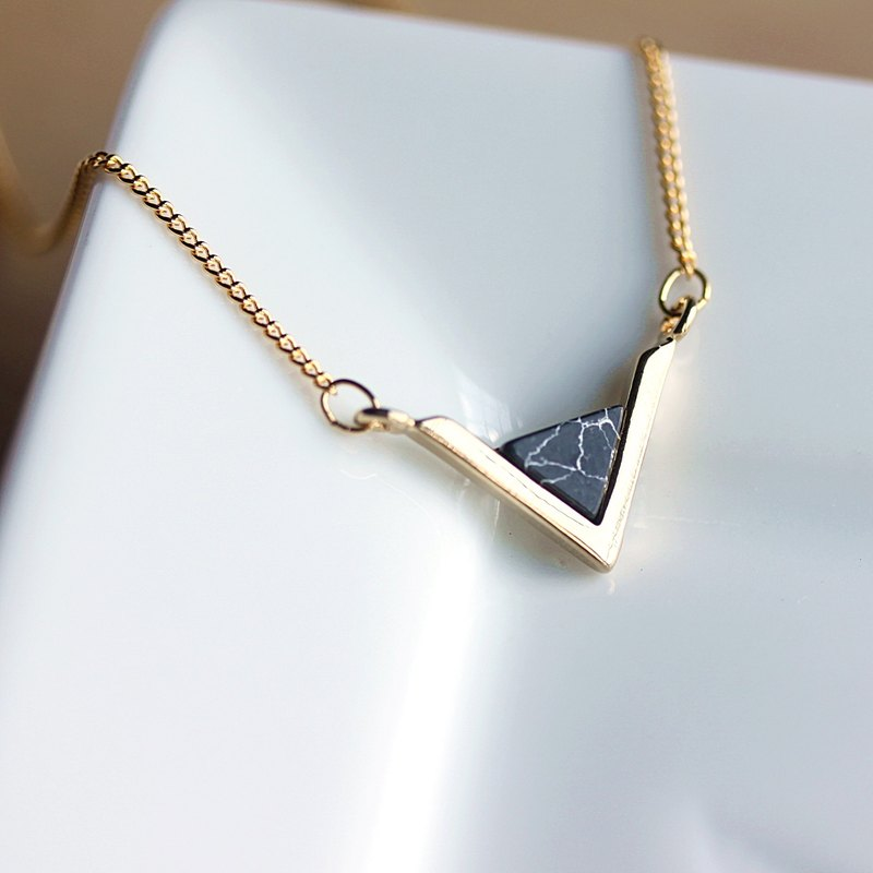 Dainty Geometric Gold Necklace-Geometric Triangle .Blue Lapis,White Howlite,Black Marble,Gift for her,Gift for wife,gift for girlfriend