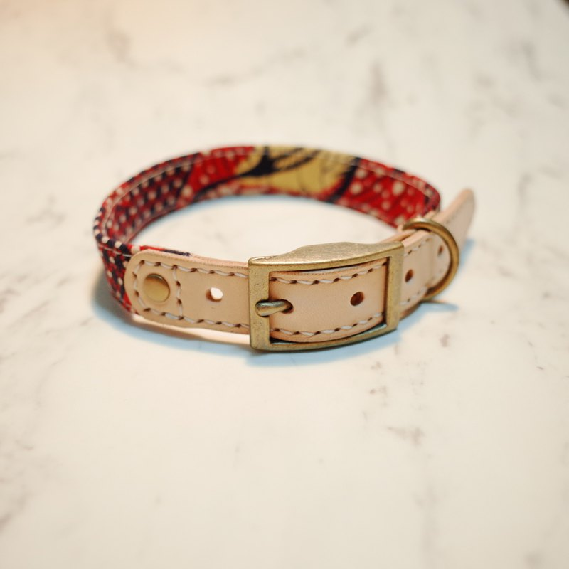 Dog collar M retro Japanese rag red plaid yellow duckling can be on the leash plus purchase tag