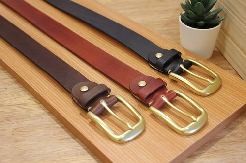 [Mini5] popular fog face belt (coffee) / hand dyed vegetable tanned leather 3.2cm wide belt