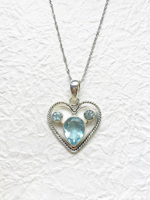 Blue Topaz 925 sterling silver heart necklace Mickey Indian hand-made mosaic