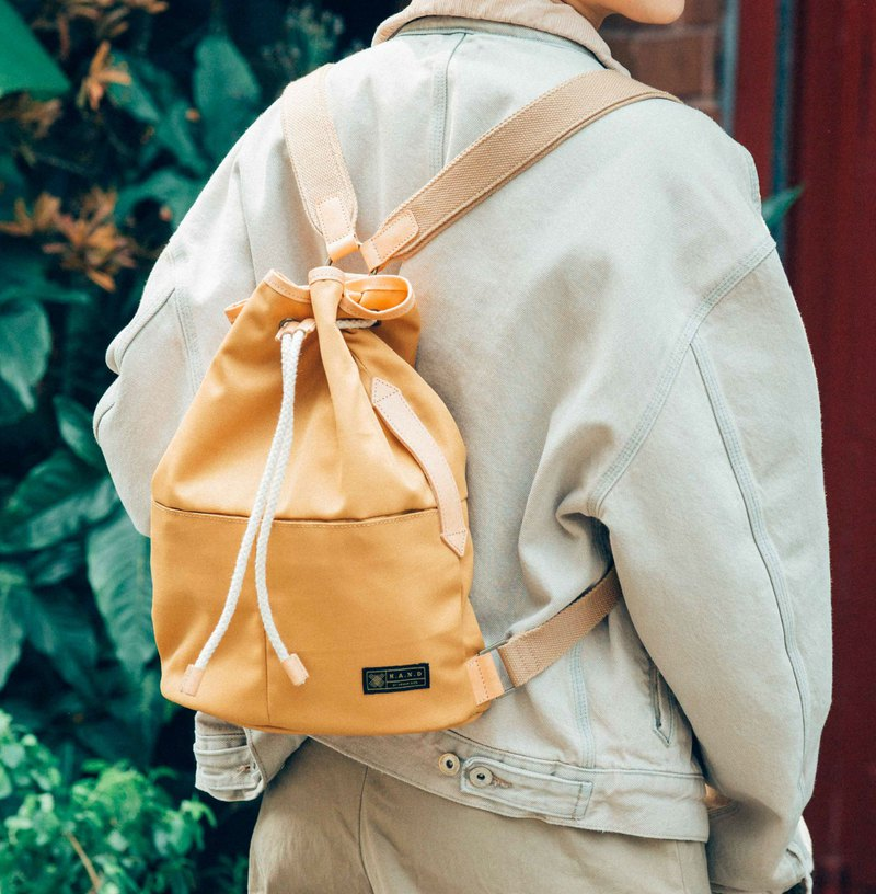 Hong Kong brand personality water repellent backpack / computer bag - mustard yellow