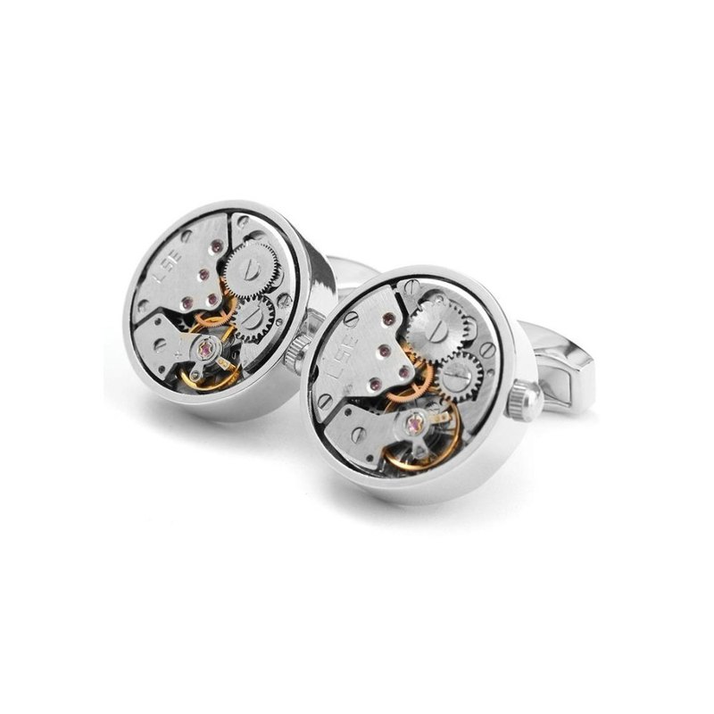 Kings Collection Silver Watch Functional Mechanical Cufflinks  KC10037 Silver