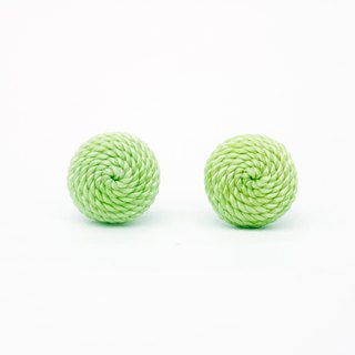 Circle dot Lime Woven Stainless Steel Earrings Ear Clips 183