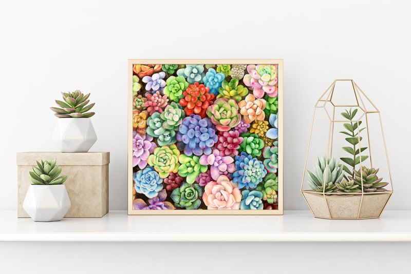 【Succulents】Limited Edition Watercolor Art Print. Colorful Botanical Decoration.