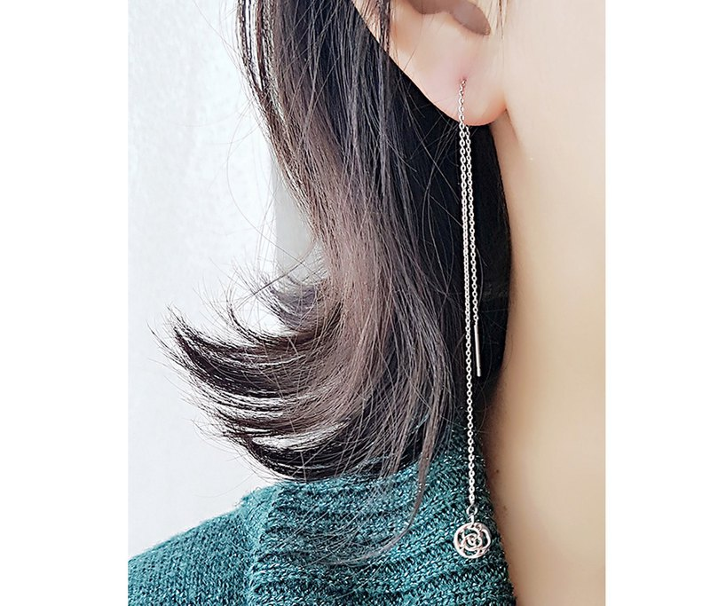 Belle blossoming spring breeze (rose) sweet ear wire long ear pin is not afraid of water allergy