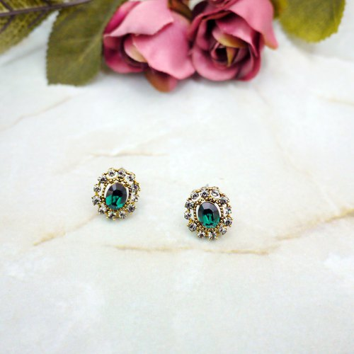 French feelings retro earrings (green)