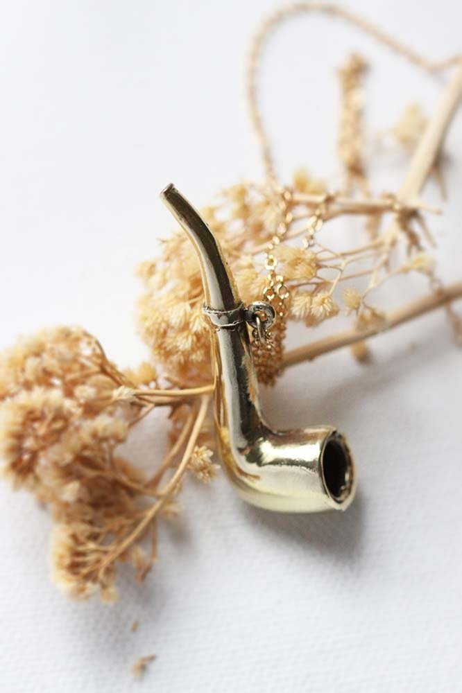 Golden Pipe Charm Necklace / Linen Jewelry / Everyday Necklace / Pipe Charm / Pipe Necklace.