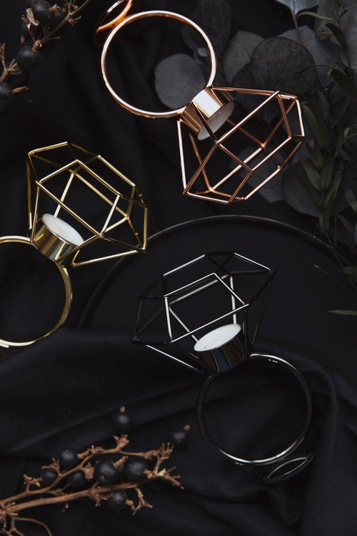 Experimental plan / zero 壹 / geometric lines - diamond candlestick jewelry table - nickel black