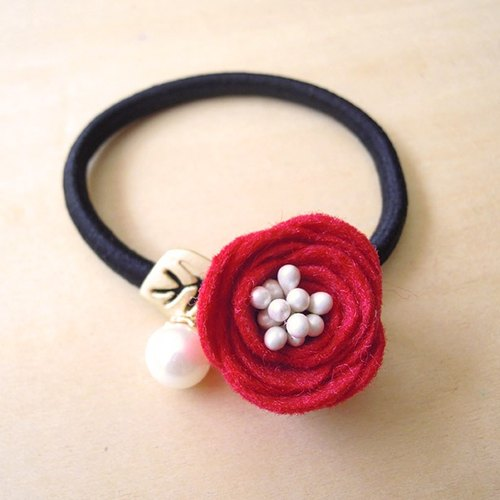 RARAPUPU flowers pearl hair ring pure red