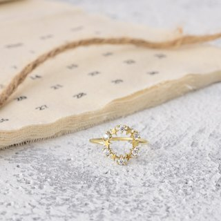 Handmade zircon brass ring stars wreath