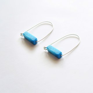 925 Silver White-grained Turquoise Gemstone Earrings-Sold as a Pair