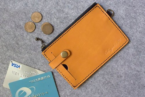 YOURS handmade leather two-piece personalized coin purse - upgraded version (bronze button) egg yellow leather