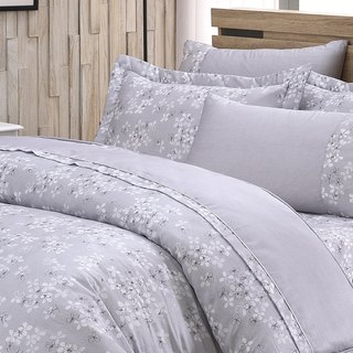 Extra large size fresh flower bud (grey) - Tencel dual-use bedding set of six pieces [100% lyocell]