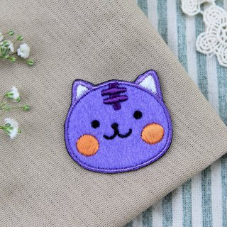 Smiling purple purple meow self-adhesive embroidered cloth stickers - Baby meow meow series