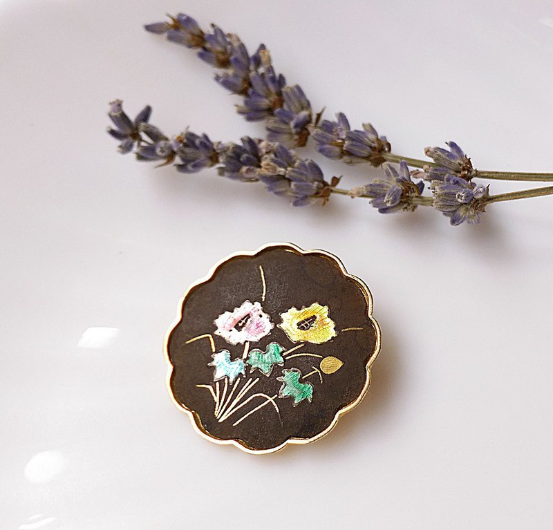 [Western antique jewelry / old age] Japan Damascene color 珐琅 flower pin pendant