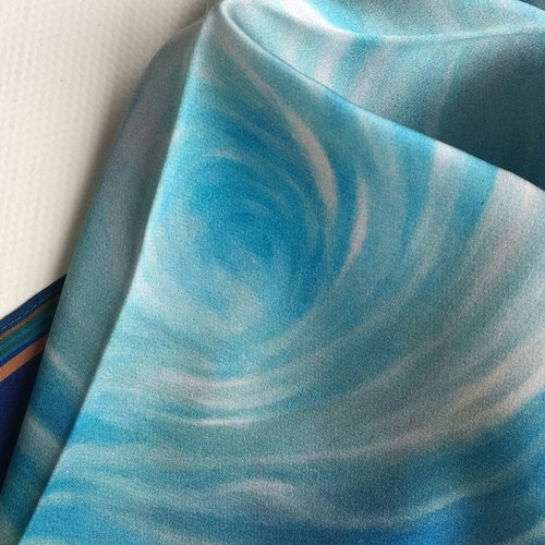 Small square blue silk scarf swirl
