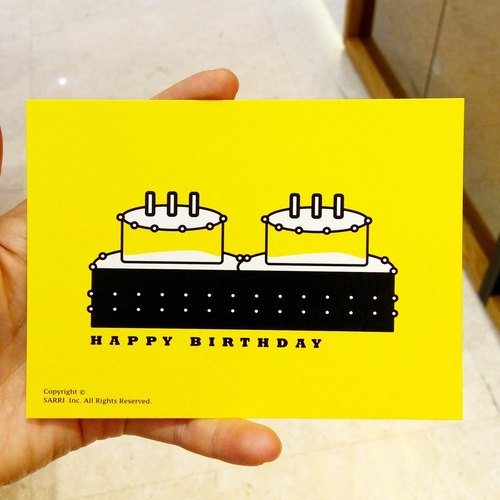 """Happy Birthday"" Postcard Birthday Card Design Coloring Illustration Photo Album Card Universal Card Art Fine Art Modern Lovers Love Special Interesting Weird Features Weird Cute Taiwan Yellow Fun Funny Eye-catching Art Sequin Flash Cool Not Famo"