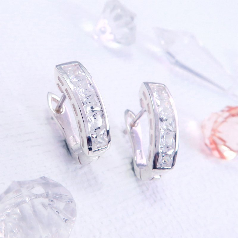 Easy buckle / ring earrings square zirconium square line semi-arc sterling silver earrings