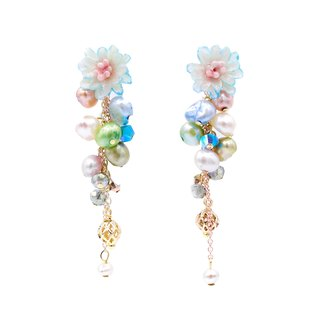 Pamycarie ZINNIA Aqua Gold-plated 925 Silver Floral Rain Earrings