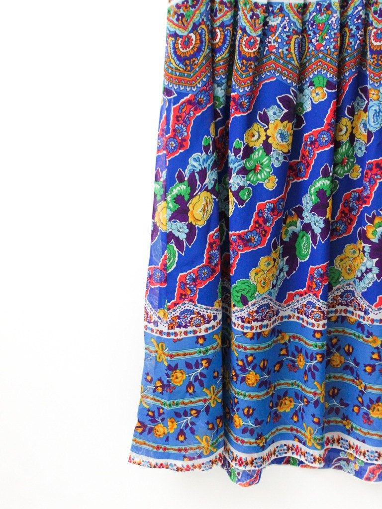 【RE0614D1270】 early summer national wind retro treasure blue totem sleeveless ancient dress