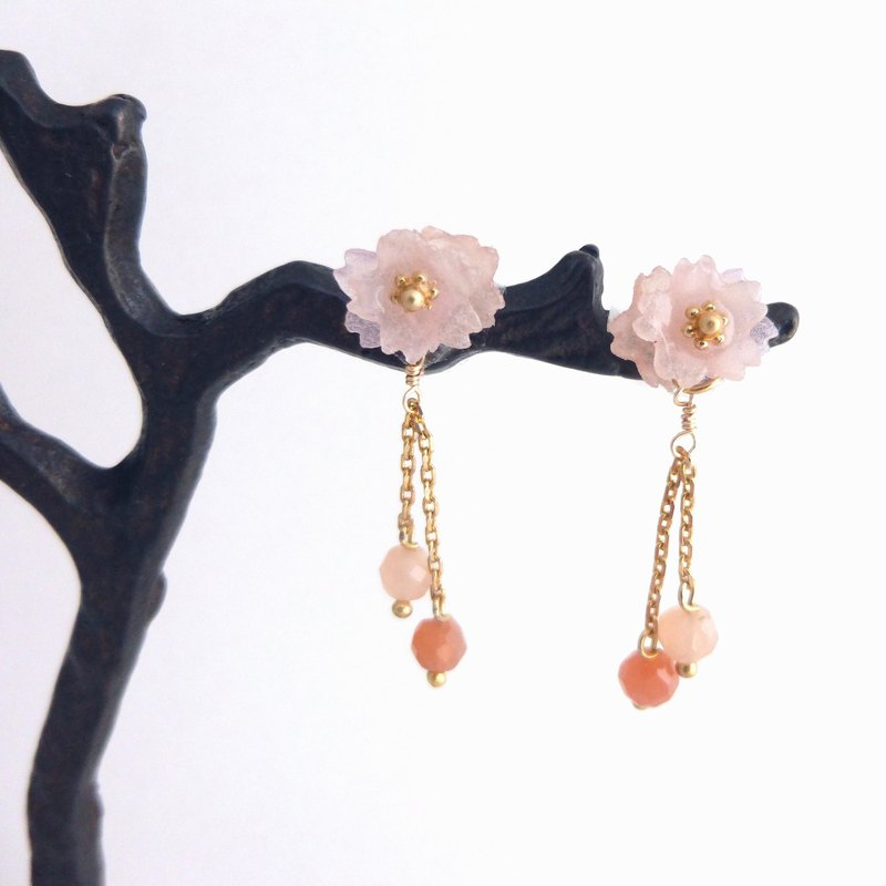 Cherry blossom piercing pink moonstone