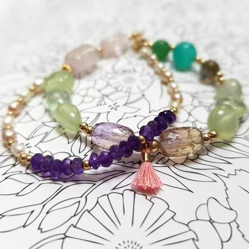 Girl crystal world [fence] - green crystal Department 3/4 double-stranded bracelet bracelet natural crystal gem hand-made