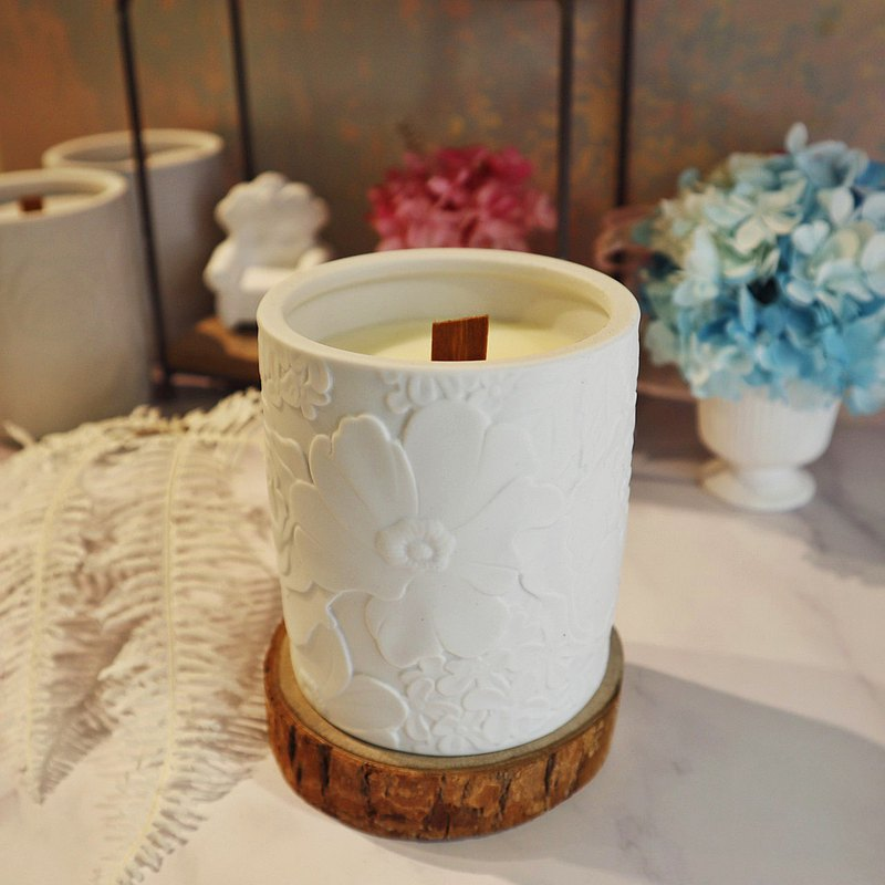 香氛蠟燭系列-Floral(原木燭蕊蠟燭)