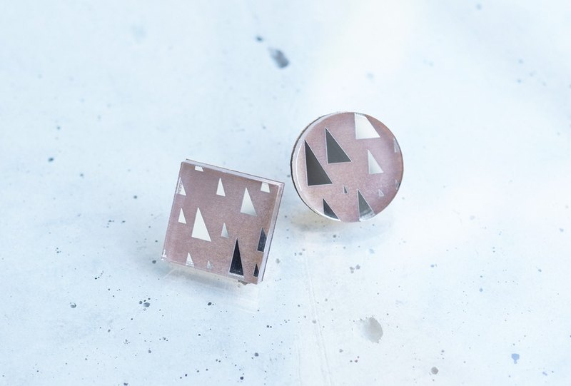 Forest triangular mirror earrings / SILVERMOCA