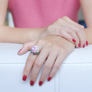 Hydrangea Pink Ring , Flower Ring , Handpainted GOODAFTERNINE