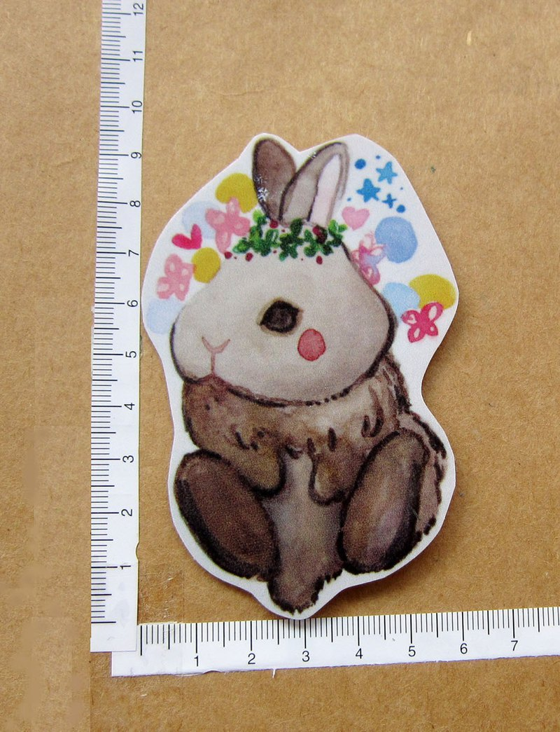 Hand drawn illustration style fully waterproof sticker rabbit dreamy star bubble