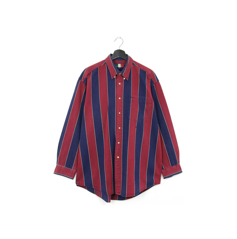 Back to Green:: striped shirt red and blue / / vintage shirt