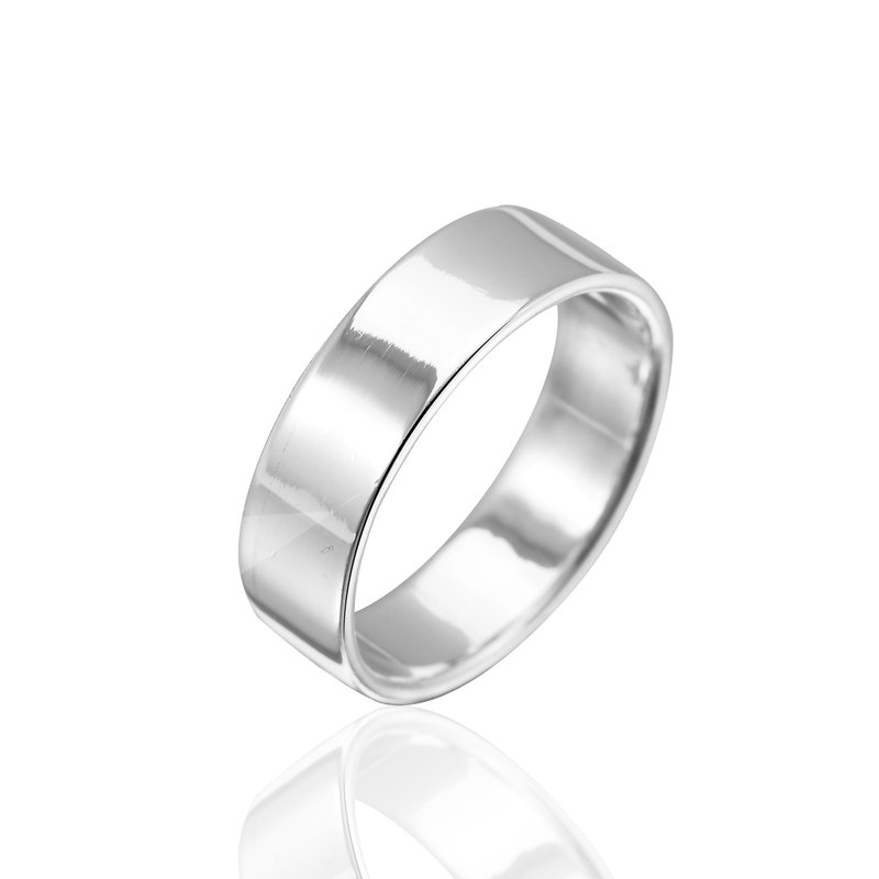 Simple plain sterling silver finger ring -7mm flat ring