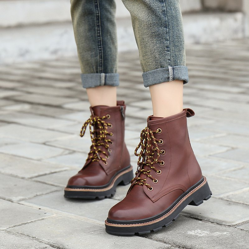 Two-tone lace Martin boots mid-tube leather boots female side zipper lace Martin boots motorcycle boots