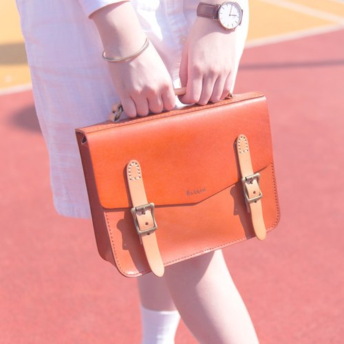 ◆ dual messenger bag retro leather •