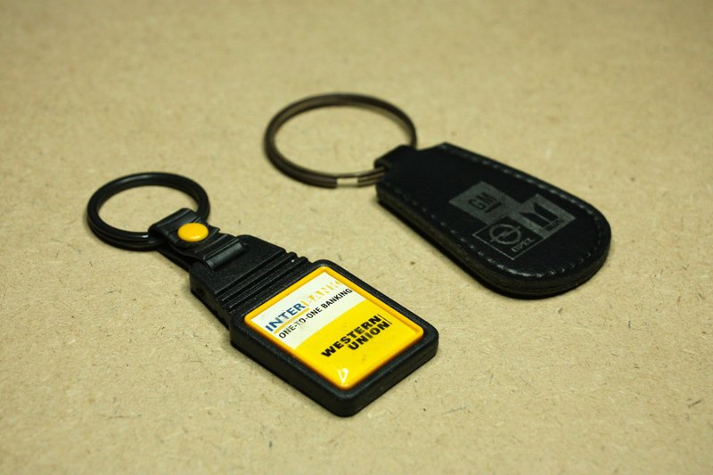 Purchased from the Netherlands in the late 20th century, Western Union Bank Europe General Motors antique key ring