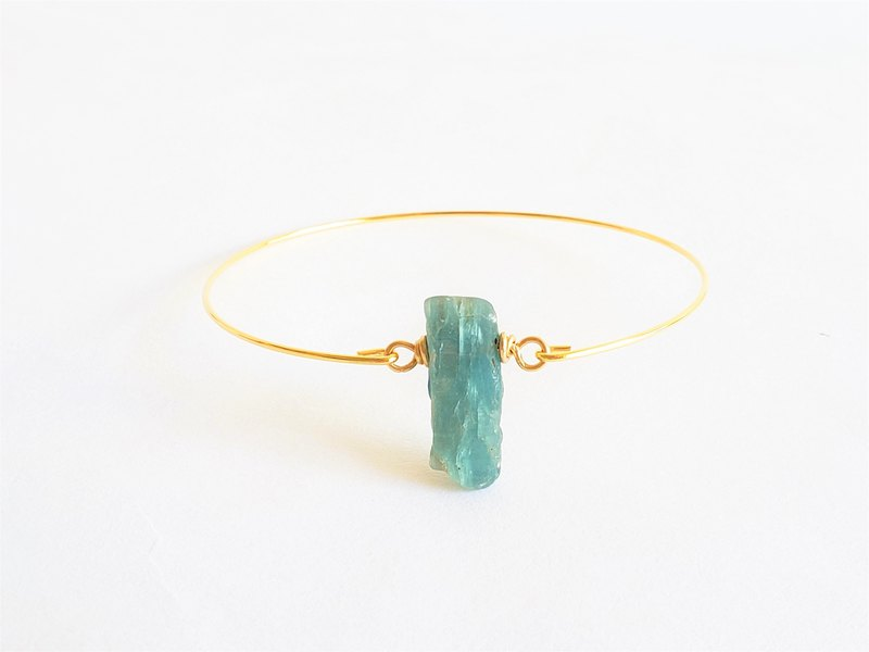 Natural blue kyanite bracelet - 18k gold plated thin bracelet natural crystal