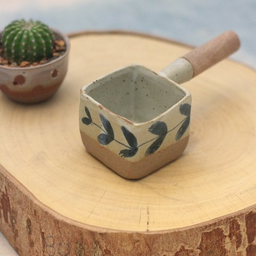 3.2.6. studio: Handmade ceramic mini tree dipper (cube) with wooden handle.
