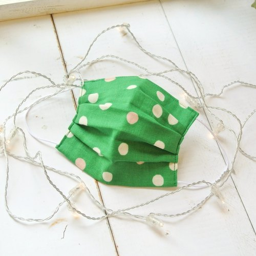 25%OFF | Japanese double gauze cotton comfortable handmade mask | Dot Green |