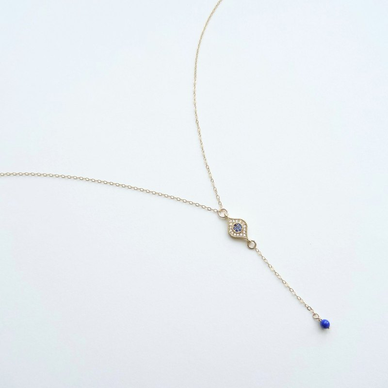 CZ Micro Pave Evil Eye Charm 14K GF Y-Necklace with Lapis Lazuli Beads