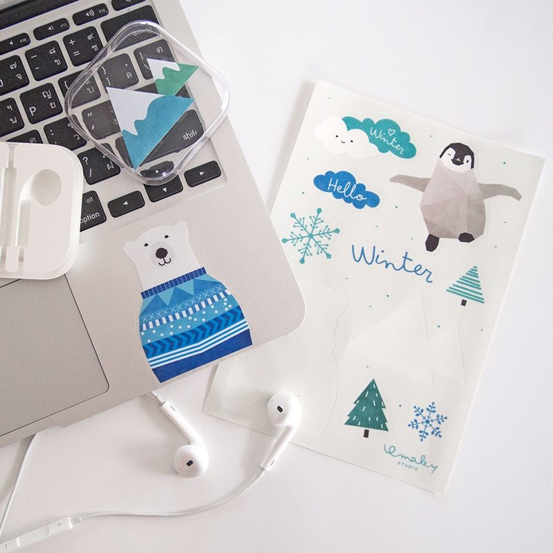 Winter-themed clear sticker sheet x 2 sheets