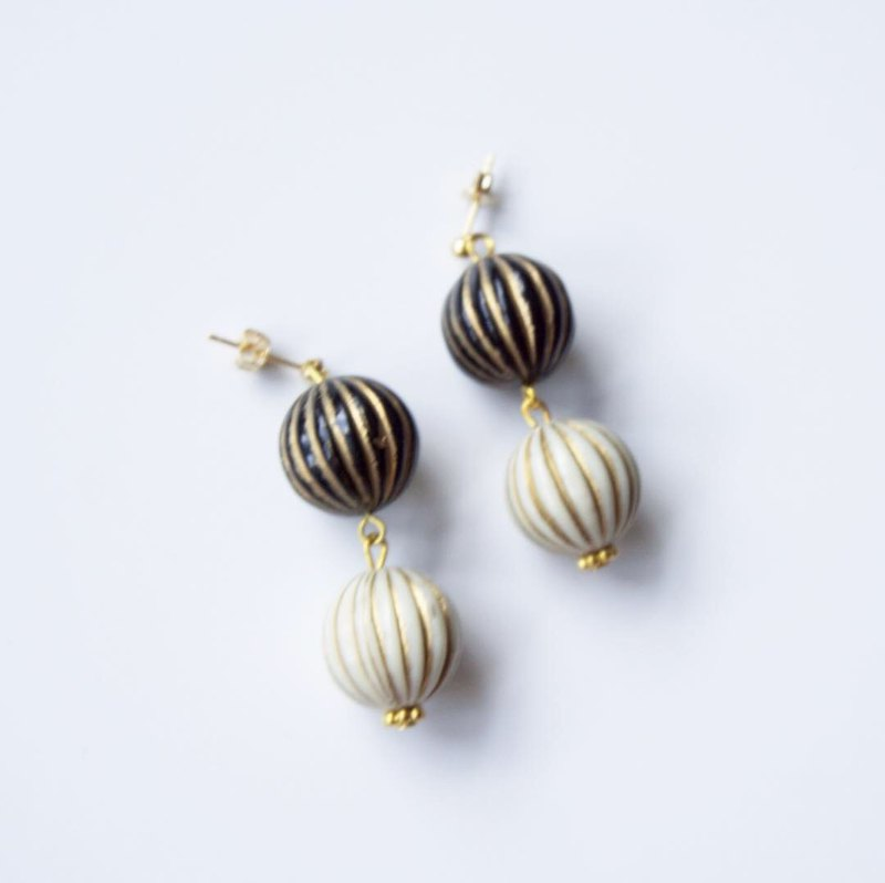 Black and White Pumpkin Beads Earrings in Stainless Steel Posts/ Clips
