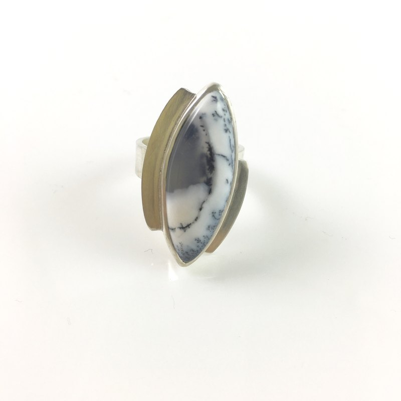 Dendrite Opal Agate Sterling silver adjustable ring band