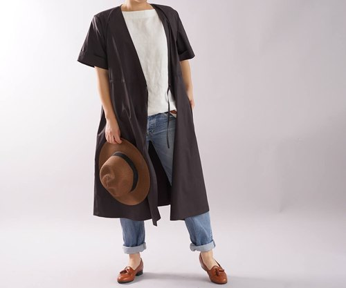 wafu  cache-coeur design dress and coat / cotton / 2 way / brown a5-30