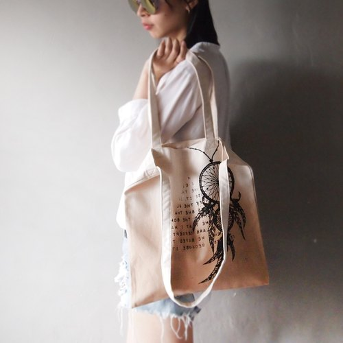 Dreamcatcher \ Indian canvas hand dyed tote bag double back